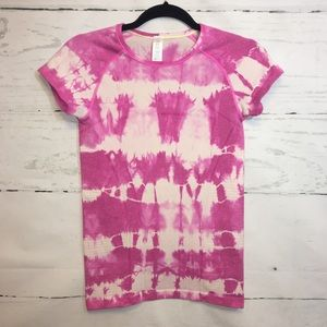 Ivivva Girls Pink and White Tie Dye Top